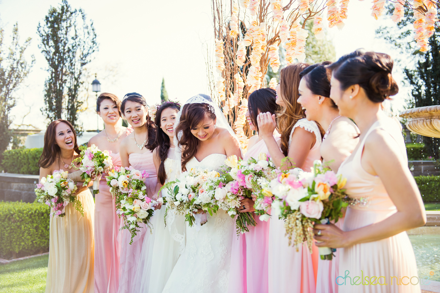 bridesmaids in different colors