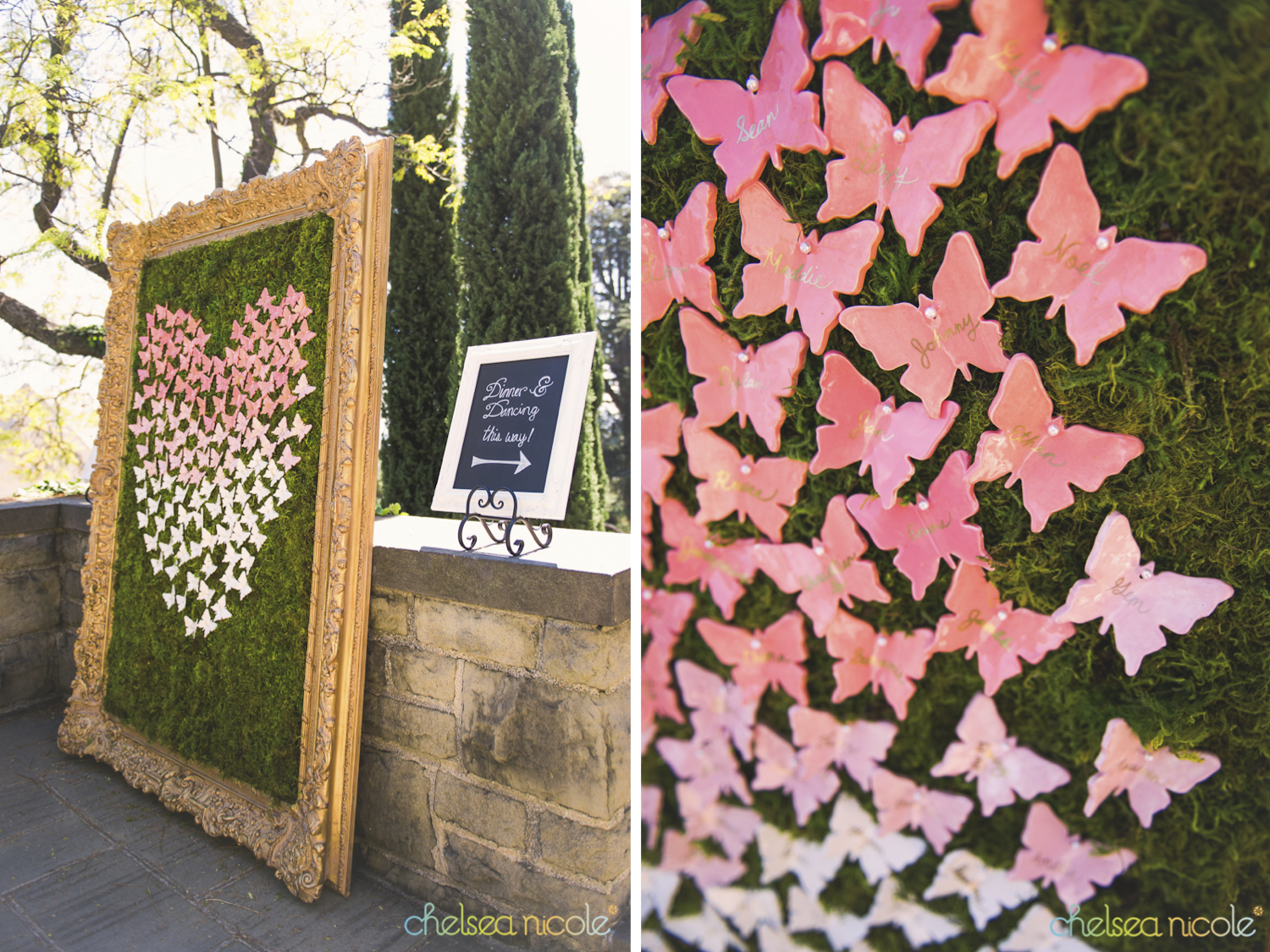 ombre ceramic butterflies for escort cards