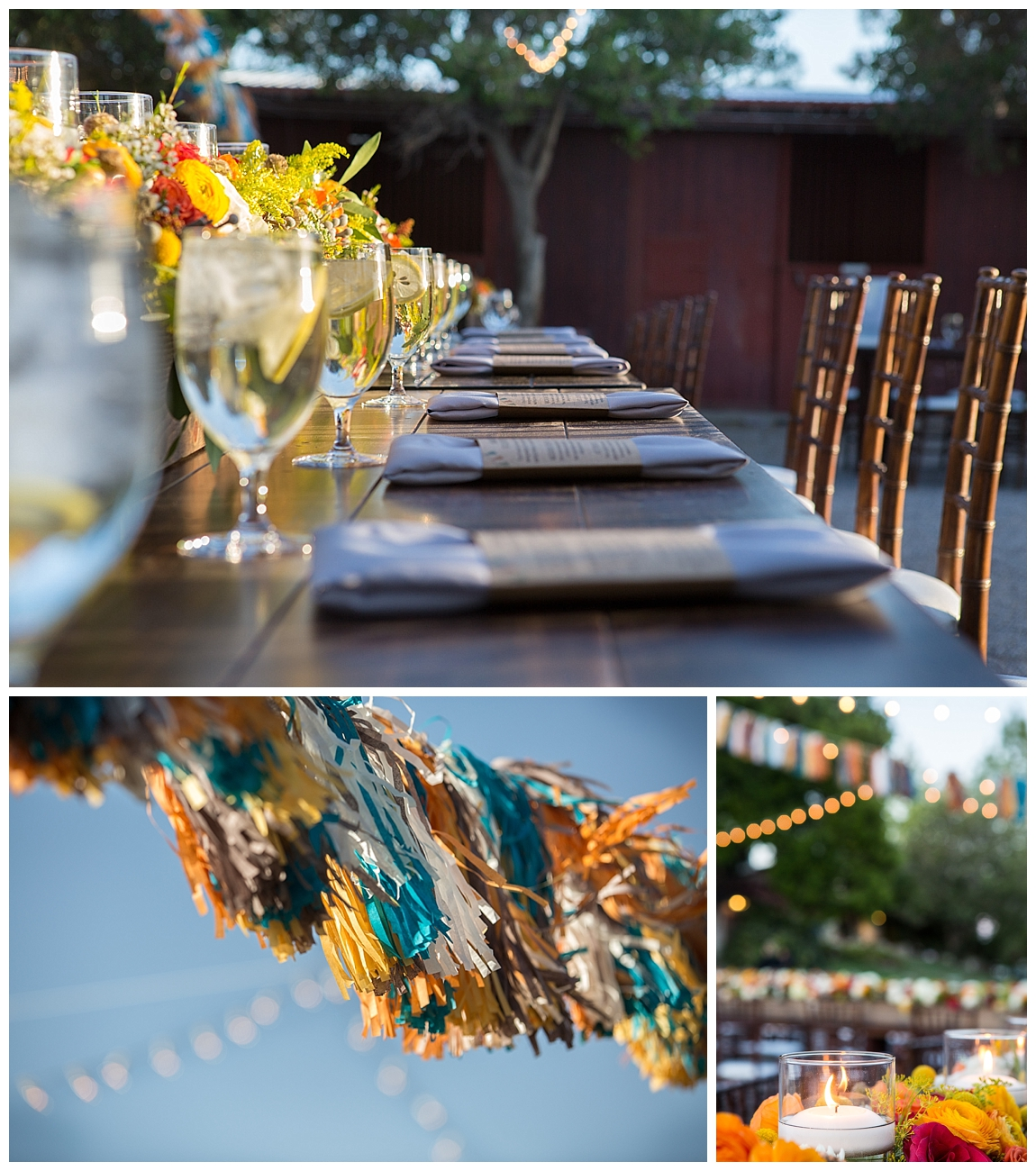 Orange, teal wedding